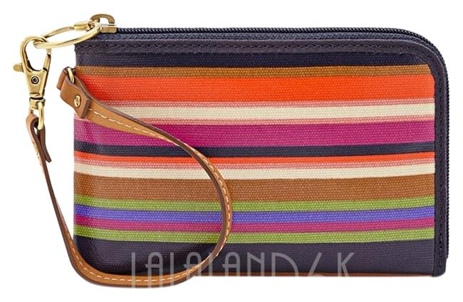 Item - Keyper Stripe Multi Coated Cotton Canvas Wristlet