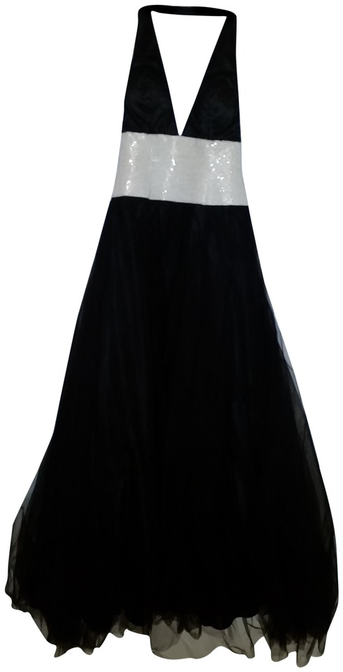 House Of Wu Black And White Halter Ball Gown Long Formal Dress Size