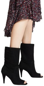 Michael Kors Suede Leather Open Toe Slouch Black Boots