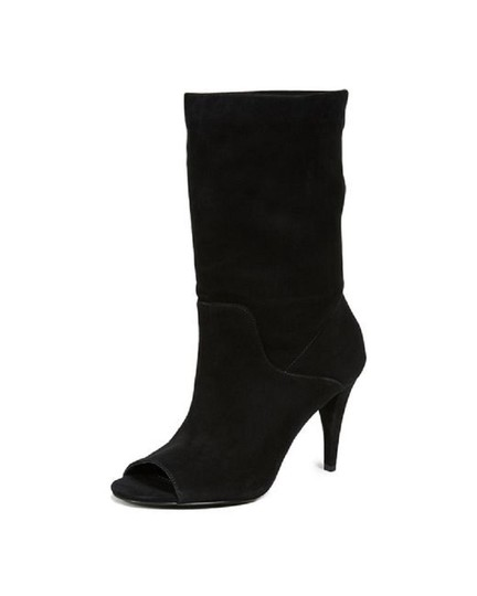 Michael Kors Suede Leather Open Toe Slouch Black Boots Image 11