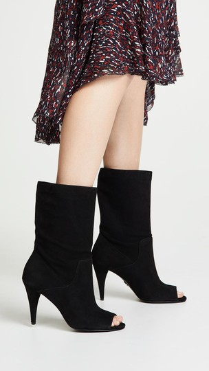 Michael Kors Suede Leather Open Toe Slouch Black Boots Image 6
