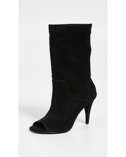 Michael Kors Suede Leather Open Toe Slouch Black Boots Image 7