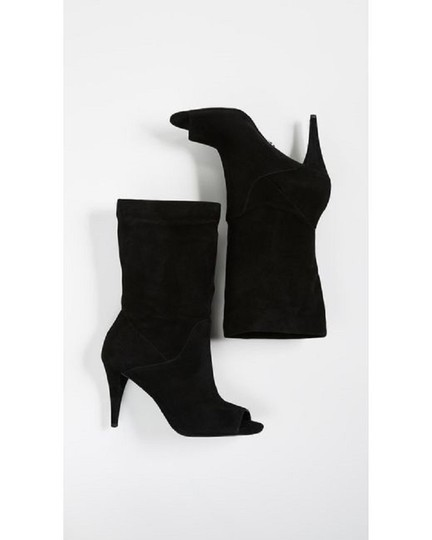 Michael Kors Suede Leather Open Toe Slouch Black Boots Image 9