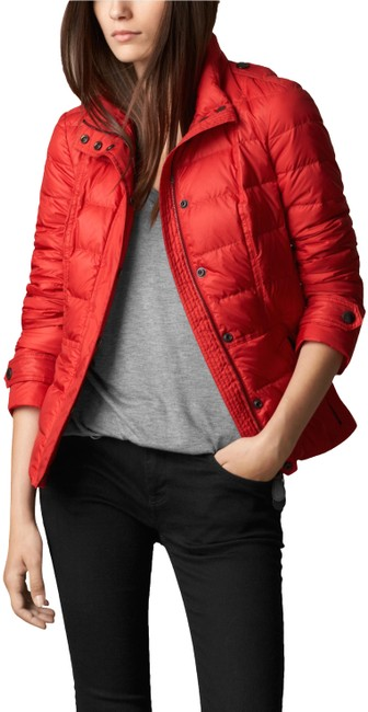 Burberry Military Red Womens Quilted Puffer Down Jacket