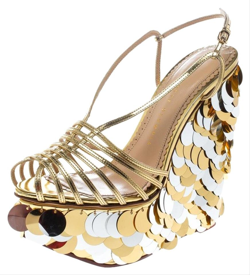 7ead95a56a9 Charlotte Olympia Gold Leather Poseidon Disc Embellished Wedge Platform  Sandals