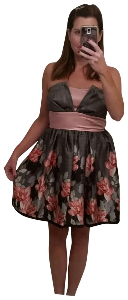 e7948bba80f Trixxi Black and Pink Floral Short Cocktail Dress Size 6 (S) - Tradesy