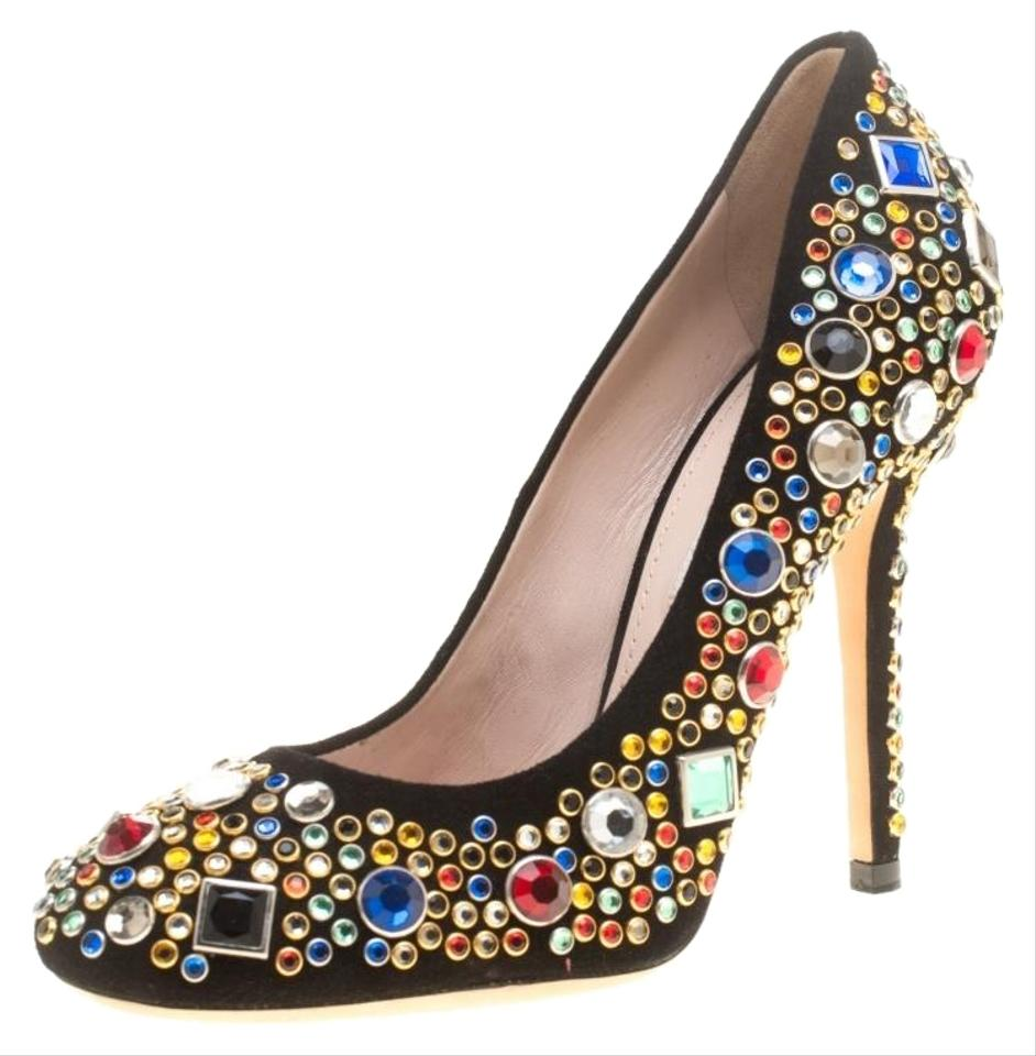 bf146cdc358 Miu Miu Black Suede Donna Multicolor Crystal Embellished Pumps. Size  EU 37  (Approx. US 7) Regular (M ...