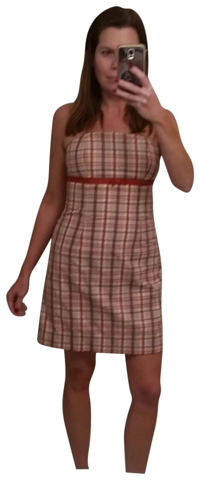 283361a1e58 Lilly Pulitzer Red White and Blue Plaid Strapless Sundress Casual Dress