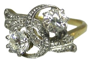 18k Yellow Gold Old European Rose Cut 12 Ct Diamond Ladies Ring Size 6.25