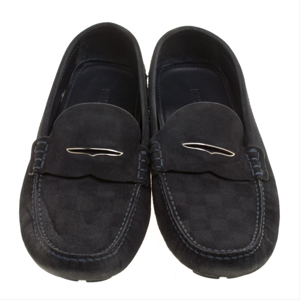 226ec0e837d Louis Vuitton Blue Dark Damier Embossed Suede Shade Penny Loafers Flats  Size EU 44 (Approx. US 14) Regular (M