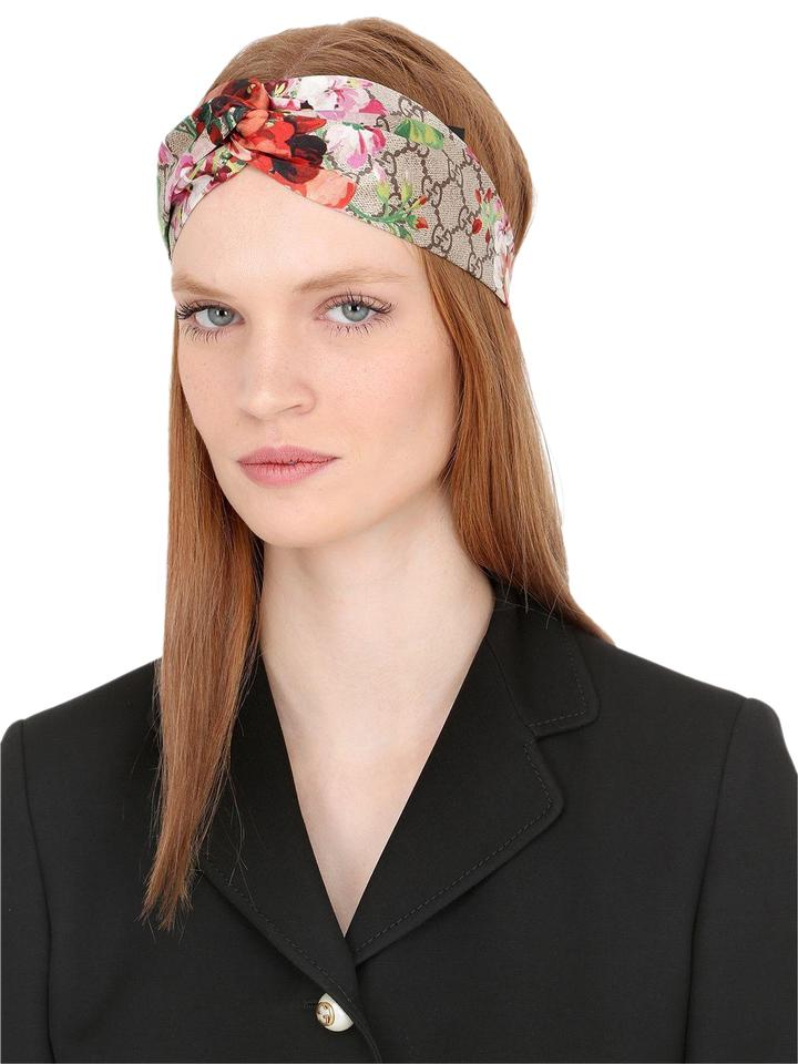 7c3cd3dcb32 Gucci Beige Olive Brown Multicolor Silk Blooms Gg Web Headband Hat ...