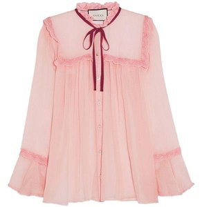 Gucci Bow Silk Top Pink