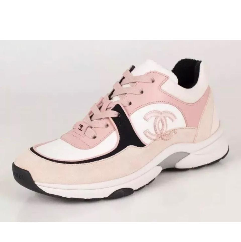 600ee5e6d932 Chanel Pink Cruise 19 Cc Logo Lace Up Light Suede Sneakers Sneakers ...