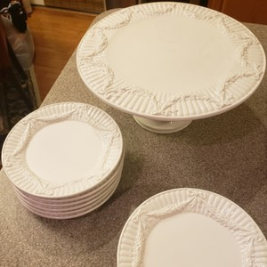 Tiffany & Co. White Cake Stand 12 Dessert Plates Tableware