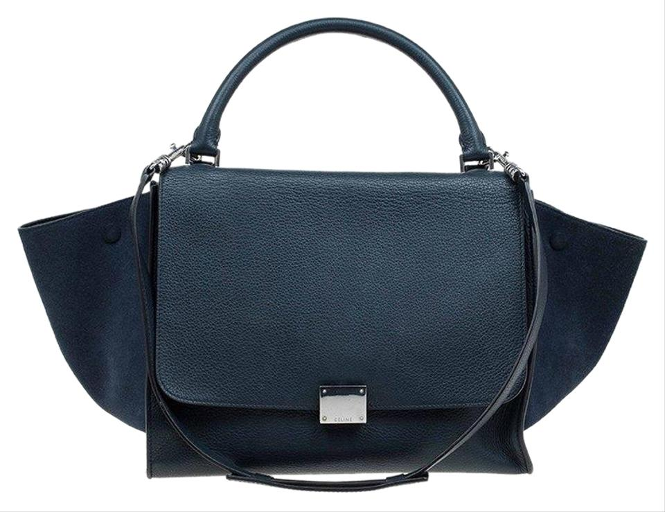 a355495b32a5 Céline Trapeze Navy and Medium Blue Suede Leather Tote - Tradesy