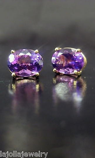 Other Fine Estate 14k Yellow Gold Amethyst Earrings Image 1