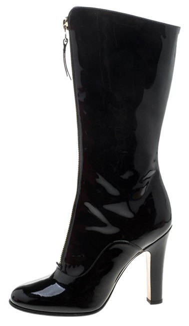 Item - Black Patent Leather Zip Detail Mid Calf Boots/Booties Size EU 38.5 (Approx. US 8.5) Regular (M, B)
