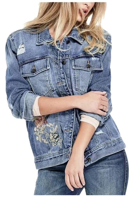 Item - Denim Blue Women's Cotton Floral-embroidered Small Jacket Size 4 (S)