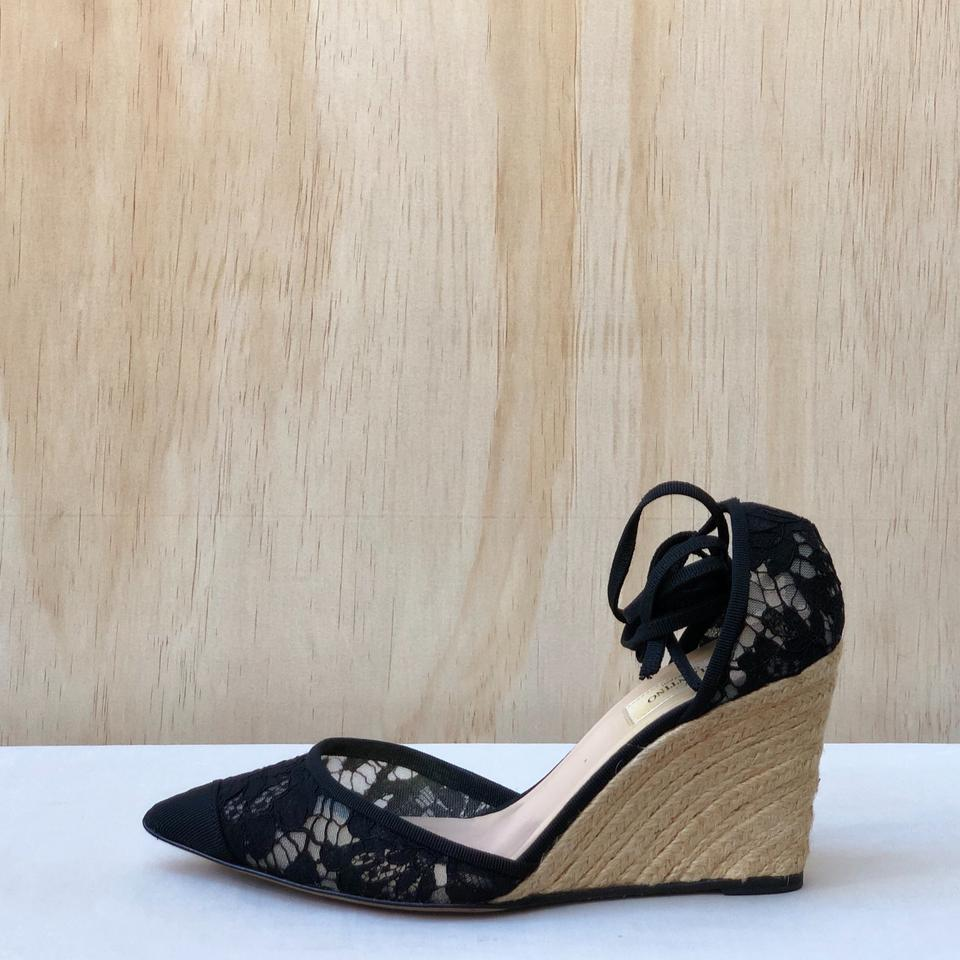 be3645e03a2c Valentino Black Lace Tie-up Espadrille Sandals Wedges Size EU 38 (Approx.  US 8) Regular (M
