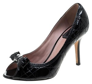 Dior Leather Peep Toe Black Pumps
