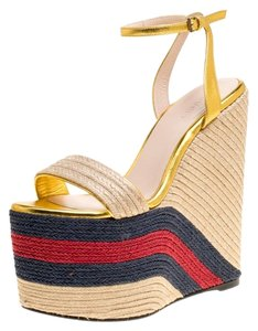 2e489fc84d2a Gucci Leather Ankle Strap Platform Espadrille Gold Sandals
