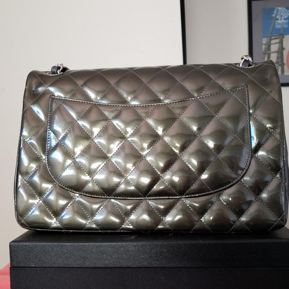 3b9f1d8138db Chanel Classic 200 Double Flap Chain Jumbo Pewter Dark Green (Nearly ...