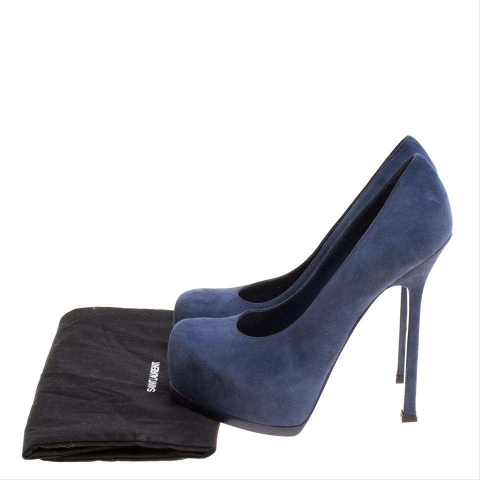 a516adf632e Saint Laurent Blue Paris Suede Tribtoo Platform Pumps Size EU 37.5 ...