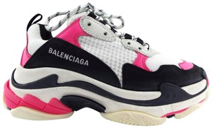 Balenciaga Triple S Falt Lace Up Colorblock Triple Black/White/Pink Athletic