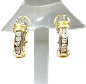 Other Fine Estate 14k Multi Tone Gold Diamond Earrings Diamonds