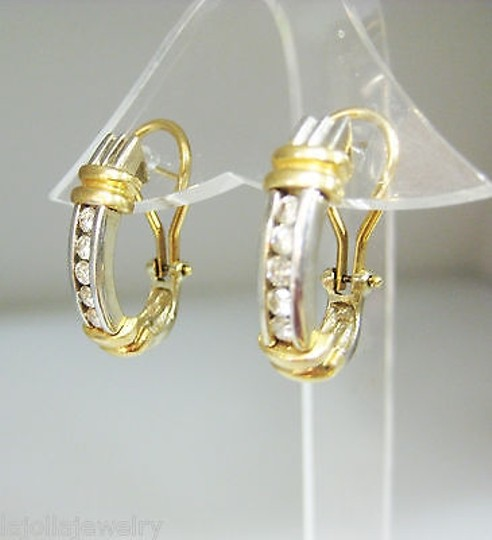 Other Fine Estate 14k Multi Tone Gold Diamond Earrings Diamonds Image 1