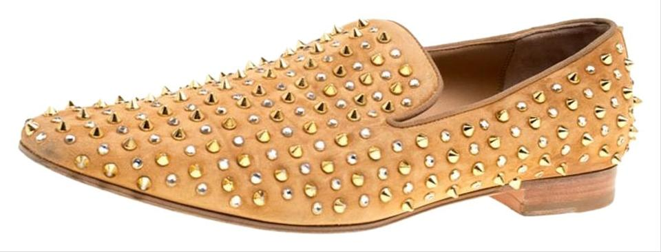 556e22fcc231 Christian Louboutin Beige Suede Roller Boy Spiked Loafers Flats Size ...