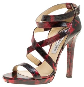 Jimmy Choo Leather Ankle Strap Platform Red Sandals
