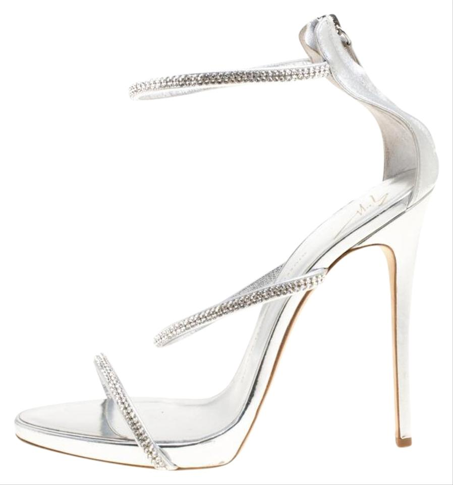9661f0f4d05 Giuseppe Zanotti Silver Metallic Leather Crystal Embellished Harmony Ankle  Strap Sandals