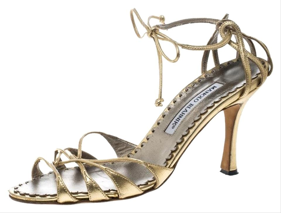 ed8d6b2beec Manolo Blahnik Gold Metallic Leather Strappy Ankle Wrap Sandals Size ...