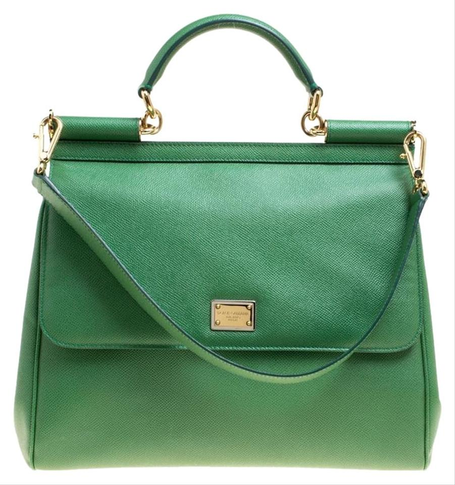 2f0fb8d13a58 Dolce Gabbana Large Miss Sicily Top Handle Green Leather Tote - Tradesy