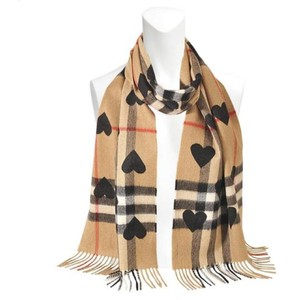 Burberry Classic Black/Brown Scarf/Wrap with Heart 100% Cashmere