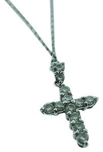 Fine Estate Platinum Gold Diamond Cross Necklace