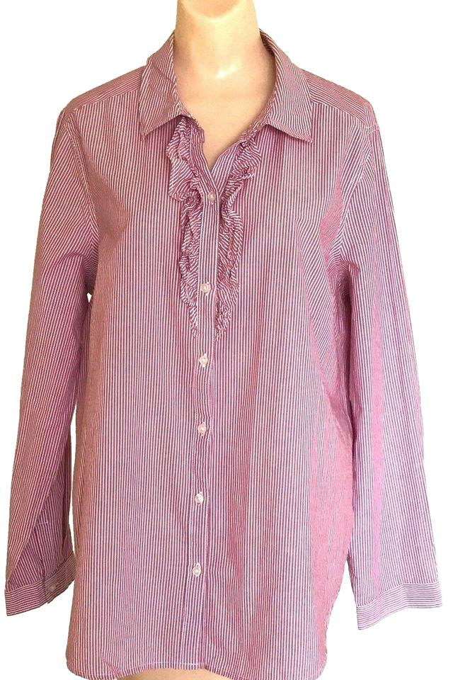 07d42b1aca Old Navy Pink & White Cotton Thin Striped Ruffle Front Long Sleeve ...
