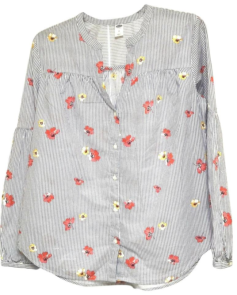60ffe3b1c240d Old Navy Blue Striped Floral Peasant Long Sleeves Shirt Blouse Size ...