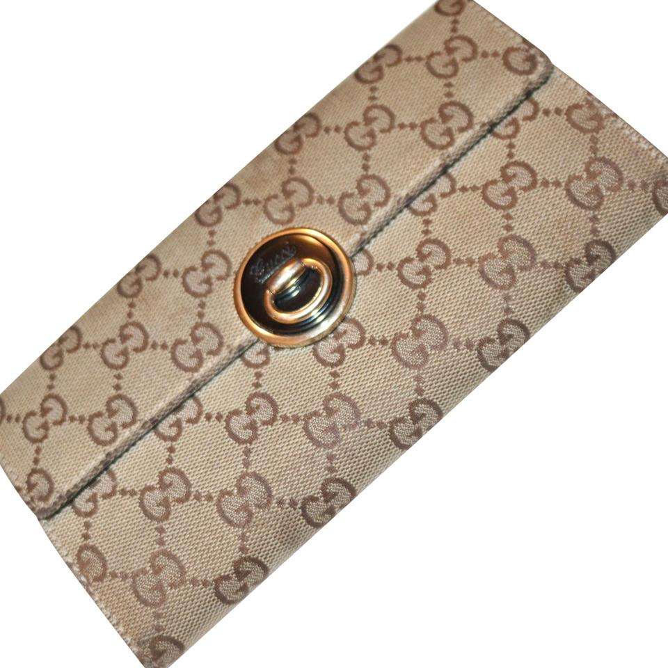 dbdfa1d0a53a Gucci Beige and Brown Eclipse Continental Wallet - Tradesy