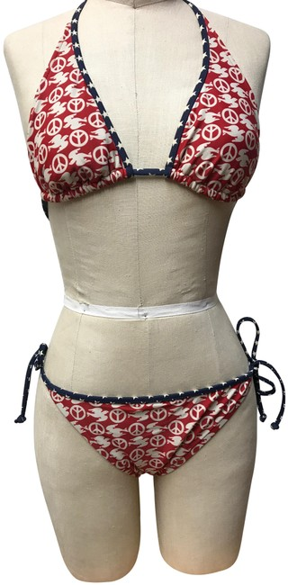 Item - Blue Red and White - with A Symbols Of Peace Sign. Bikini Set Size 4 (S)