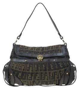 Fendi Leather Studded Shoulder Bag