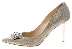 Jimmy Choo Leather Crystal Embellished Pointed Toe Glitter Metallic Pumps