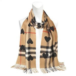 Burberry Burberry Brown Heart Printed Camel Giant Check Cashmere Scarf/Wrap