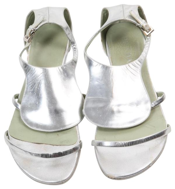 Item - Silver Leather Sandals Flats Wedges Size US 7.5 Regular (M, B)
