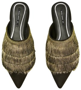 Zara Fringe Golden Satin Pointed Toe black gold Mules