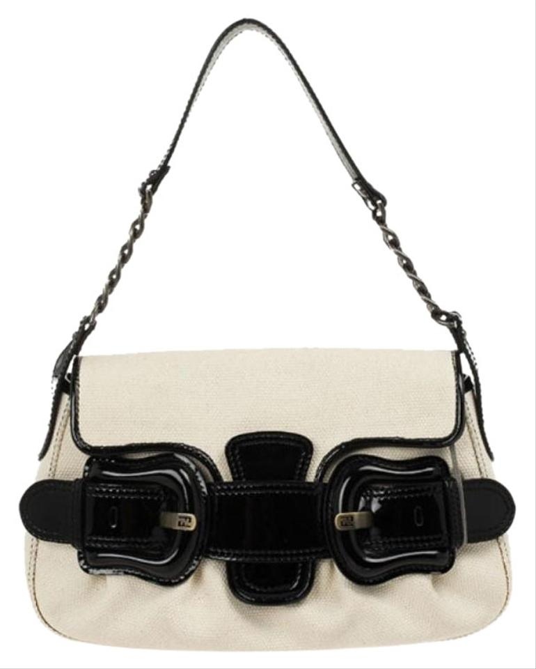 5da6553b02 Fendi Toile Vernice Patent B White/Black Leather Shoulder Bag - Tradesy