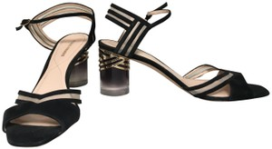 Nicholas Kirkwood Transparent Heel Mesh Open Toe Ankle Strap Black Sandals