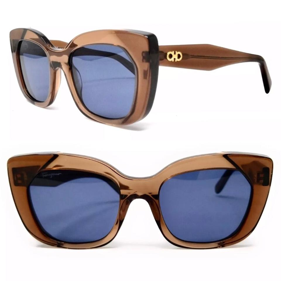 3d3732e3fe Salvatore Ferragamo Crystal Brown Cat Eye Sunglasses - Tradesy