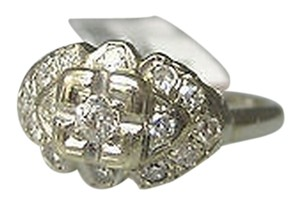 Antique 14k White Gold Diamonds Ladies Ring Size 5.5